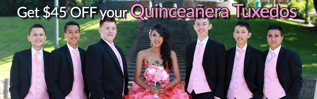 Get $45 Off you Quinceanera Tuxedos